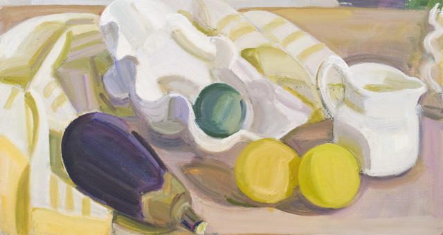 , 'Eggplant, Shell, Lime and Lemons with Small Creamer,' 2018, BCK Fine Arts Gallery at Montauk