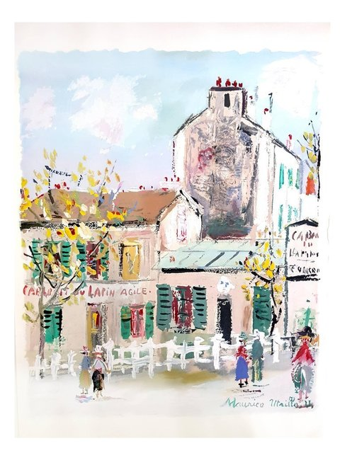 """Maurice Utrillo, 'Pochoir """"Inspired Village of Montmartre V"""" after Maurice Utrillo', 1950, Galerie Philia"""