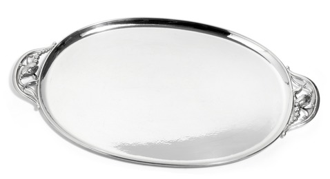 """""""Blossom"""". Oval sterling silver serving tray with hammered surface."""