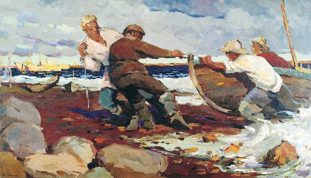 , 'Return from fishing,' 1963, Surikov Foundation