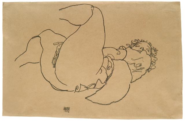 , 'Reclining female nude with raised legs,' 1918, W&K - Wienerroither & Kohlbacher