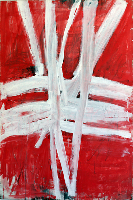 , 'TP 197 White Lines (vertical and horizontal on red),' ca. 1972, Watters Gallery