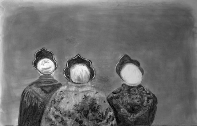 Olga Chernysheva, 'Untitled (Three Figures From Behind)', 2013, Drawing, Collage or other Work on Paper, Charcoal, paper, pop/off/art