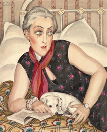 Portrait of reading woman with a dog