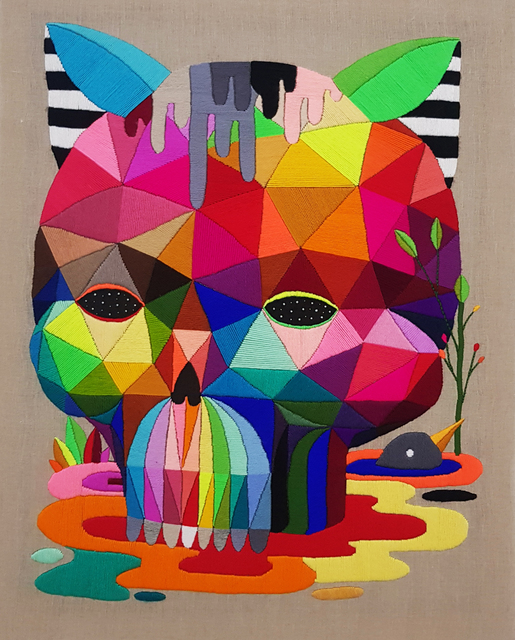Okuda San Miguel, 'Melted Cat Skull', 2018, Mirus Gallery