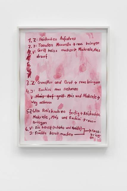 , 'Listen (Koch und Kellner),' 2018, Galerie Mehdi Chouakri