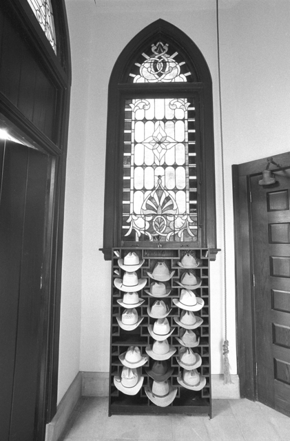 , 'Sunday Morning: Hats in the Vestibule of the Matthews Memorial Presbyterian Church, Albany, Shackelford County, Texas, 1988,' , Gail Severn Gallery