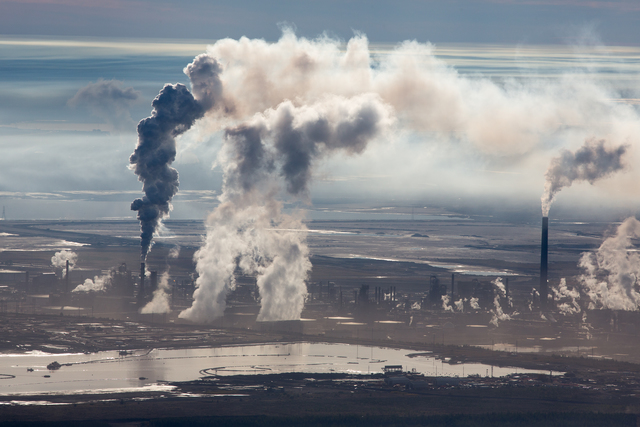 , 'Steam and Smoke Rise from Upgrading Facility at Syncrude Mildred Lake Mine, Alberta, Canada,' 2014, Huxley-Parlour