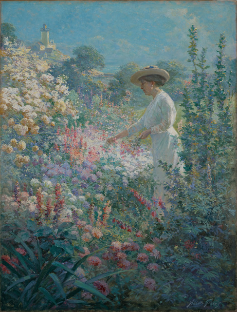 Abbott Fuller Graves, 'Garden at Finisterre, Eastern Point, Gloucester, MA', 1913, Painting, Oil on canvas, Vose Galleries