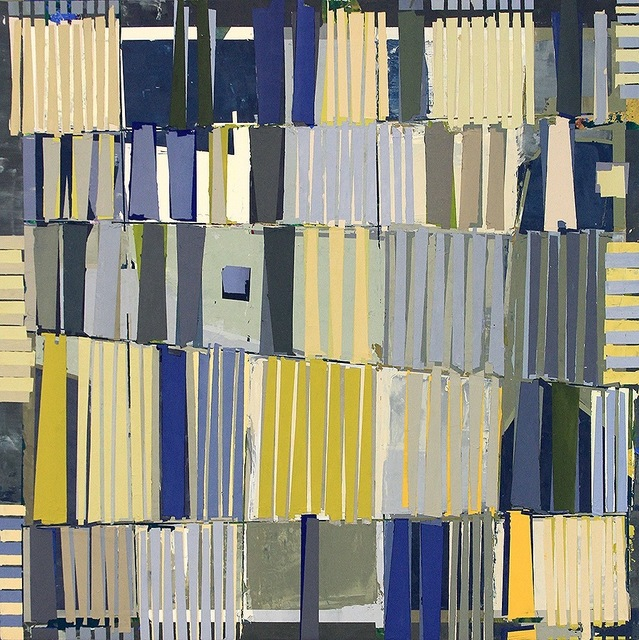 """, '""""Magicus Quadratus 7"""" Abstract Painting in Blue Yellow Green of Math Concept,' 2010-2017, Eisenhauer Gallery"""
