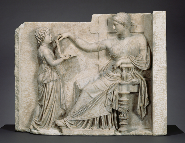 'Grave Naiskos of an Enthroned Woman with an Attendant', ca. 100 BCE, Marble, J. Paul Getty Museum