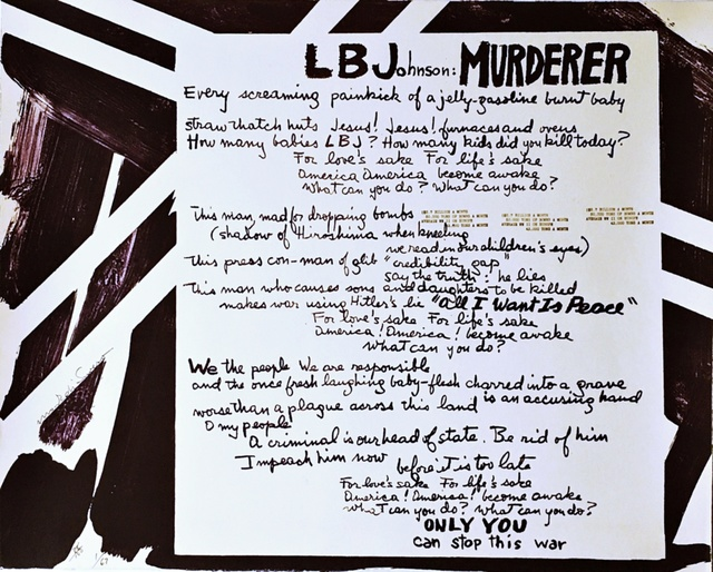 """Mark di Suvero, 'LBJohnson: Murderer from """"Artists and Writers Protest Against the War in Vietnam"""" portfolio', 1967, Alpha 137 Gallery"""