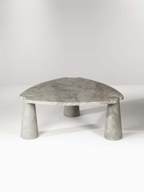 Angelo Mangiarotti, 'An Eros low table in white marble with a top on three truncated cone elements', 1971, Cambi
