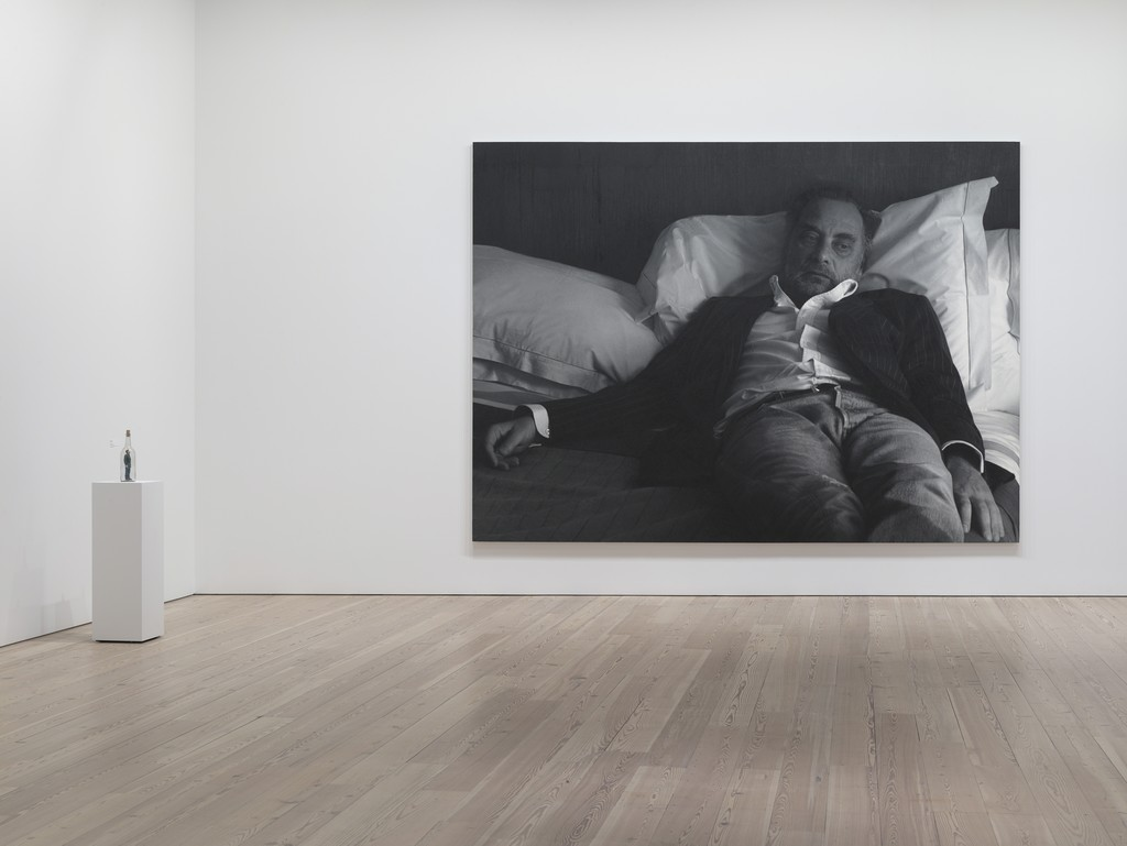 Installation view of Human Interest: Portraits from the Whitney's Collection (April 6, 2016-April 1, 2017), Whitney Museum of American Art, N.Y. Photograph by Ron Amstutz. left to right: Charles Ray Puzzle Bottle, 1995 (95.85a-b); Rudolf Stingel, Untitled (After Sam), 2005-2006 (2006.105). Photograph by Ron Amstutz.