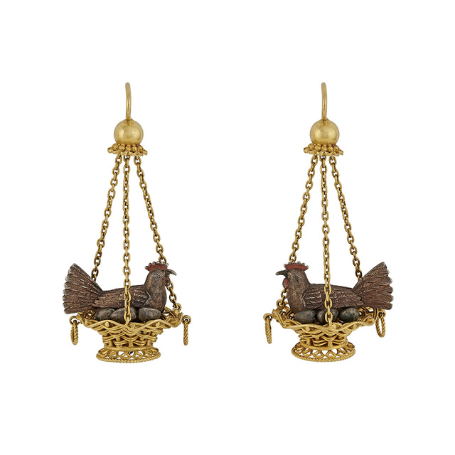 , 'A Pair of Gold, Silver and Enamel Cocottes Earrings,' ca. 1867, Wartski