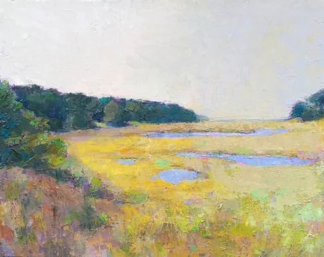 ", '""Pastel Marsh"" Painterly Landscape in Bright Yellows, Dark Greens and Blues,' 2010-2018, Eisenhauer Gallery"