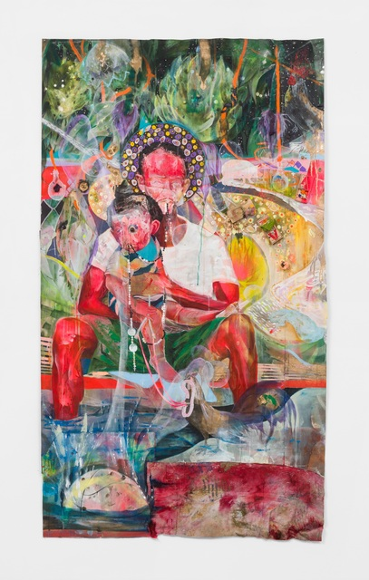 Lavar Munroe, 'Virgin and Child', 2020, Painting, Acrylic, spray paint, mousetraps, bubble gum, pearls, bath towel, thread and needle on canvas, M+B