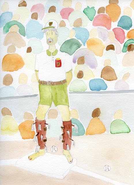 , 'Crafty baseball player with hairless legs,' 2019, Nosbaum & Reding