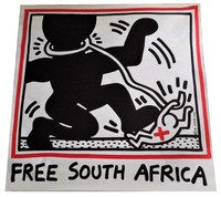 """Keith Haring, """"Free South Africa"""", 1985, unsigned, offset lithograph on glazed poster paper, edition of 20,000."""