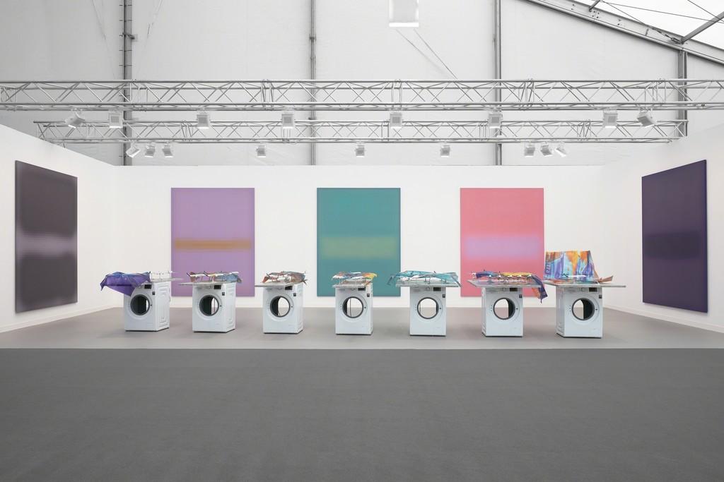 Work by Mark Flood (back) and Yngve Holen (front). Courtesy Stuart Shave/Modern Art, London.