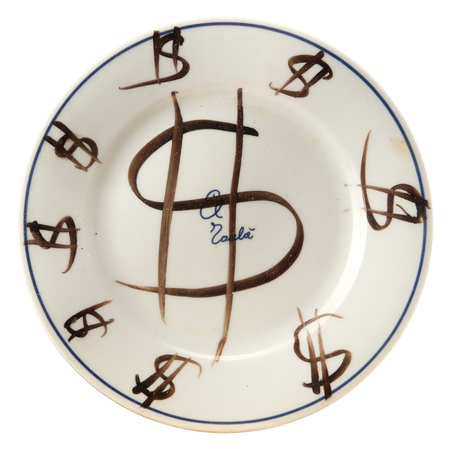 """Andy Warhol, '$', 1983, Other, Marker on porcelain dish of """"el toula"""", Il Ponte"""