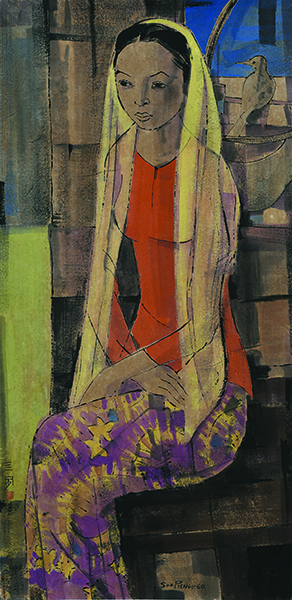 , 'A Seated Malay Girl with Bird 馬來仕女肖像與鳥,' 1960, Asia Art Center