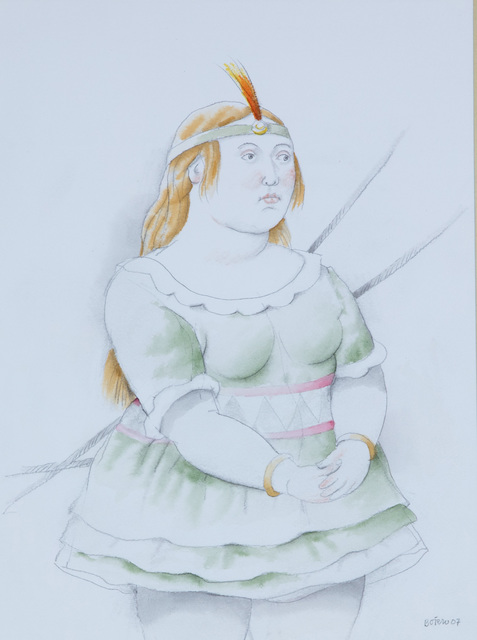 Fernando Botero, 'Dancer with green tutu and with an orange plumed headband', 2007, Opera Gallery