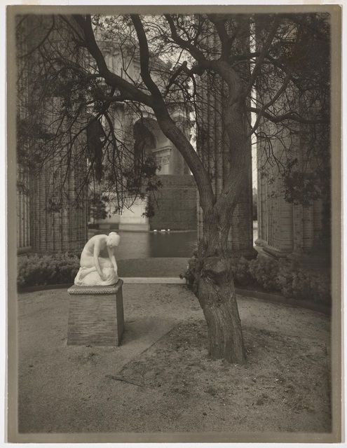 Willard Worden, 'Colonnade of the Palace of Fine Arts with Edward Berge's Muse Finding the Head of Orpheus', 1915, de Young Museum