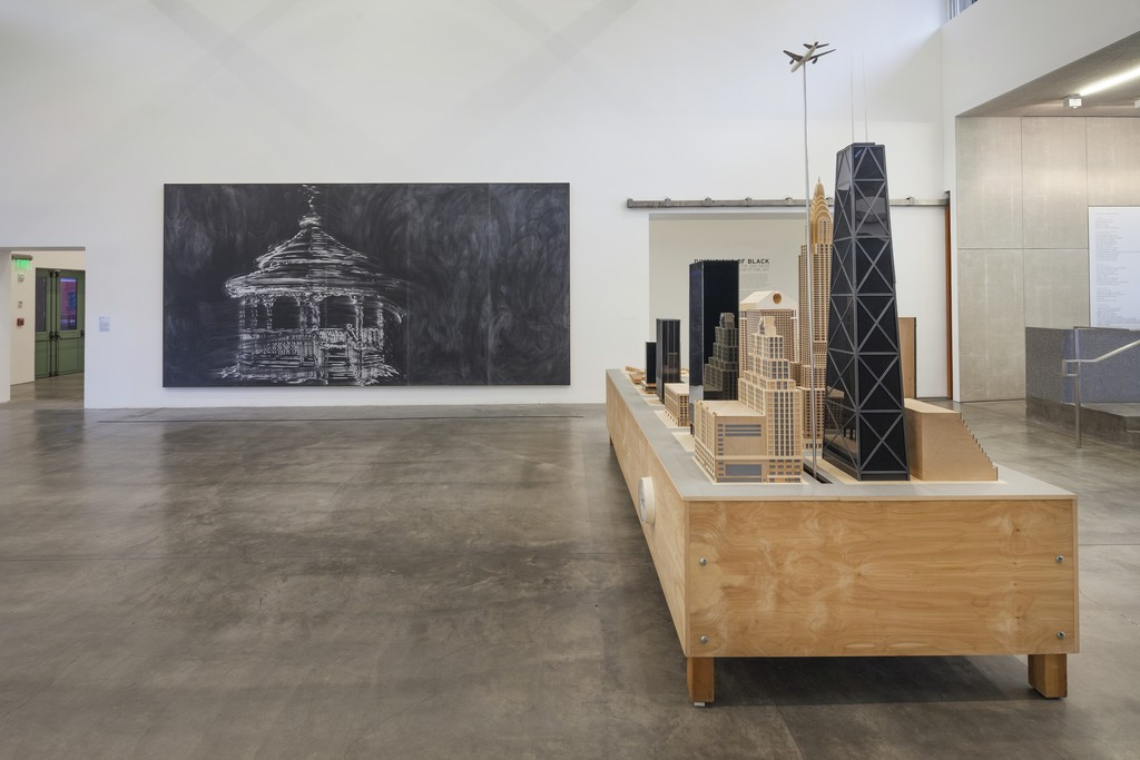Installation image of Dimensions of Black at the Museum of Contemporary Art San Diego, downtown location, 2016. Photo: Pablo Mason