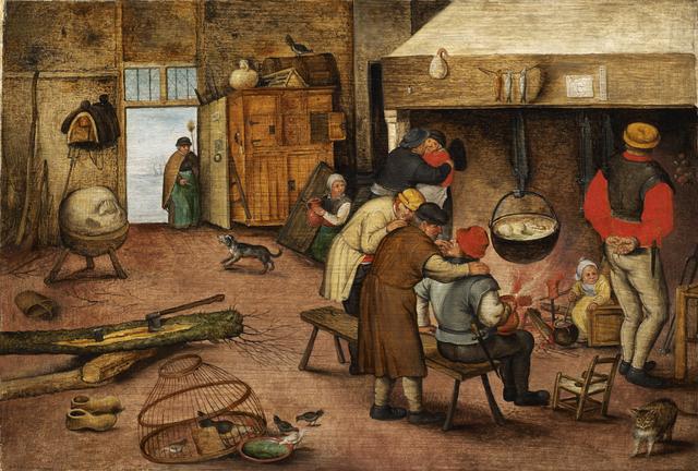 Pieter Bruegel the Younger, 'Peasants warming themselves beside the hearth', 17th century, De Jonckheere