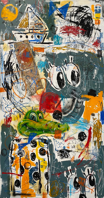 Barry Reigate, 'Croc Sailing', 2018, Painting, Mixed media including airbrush, spray paint, collage, crayon, oil and acrylic on canvas, AURUM GALLERY