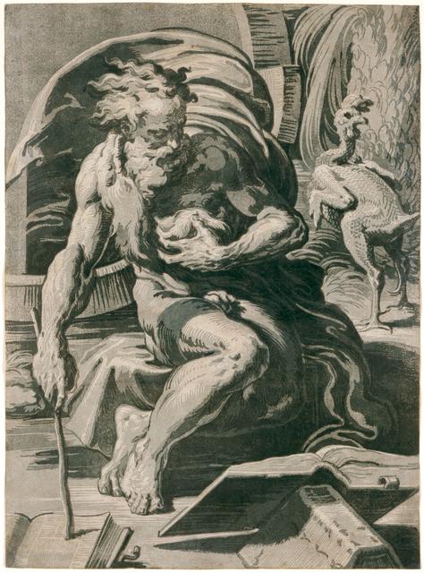 Ugo da Carpi, 'Diogenes, after Parmigianino', 1527, Blanton Museum of Art