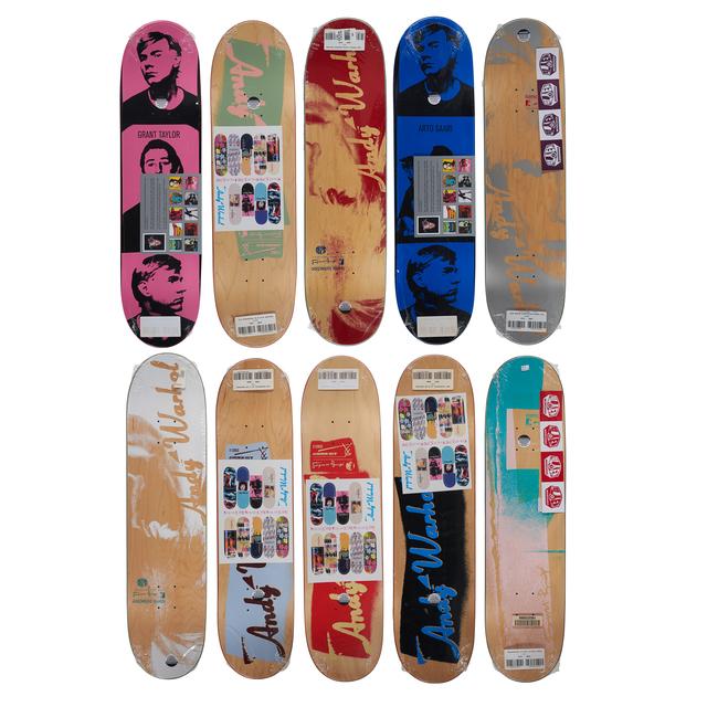 Andy Warhol, 'Alien Workshop x Andy Warhol Skateboard Decks', ca. 2011, Other, Ten transfer printed skateboard decks, Rago/Wright