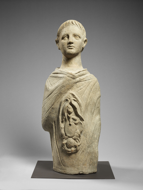 , 'Votive bust of a young man,' 300 BCE-100 BCE, Bard Graduate Center Gallery