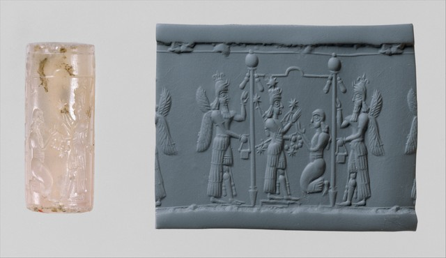 Unknown Assyrian, 'Cylinder seal and modern impression: Ishtar image and a worshiper below a canopy flanked by winged genies', ca. 8th–7th century B.C., The Metropolitan Museum of Art