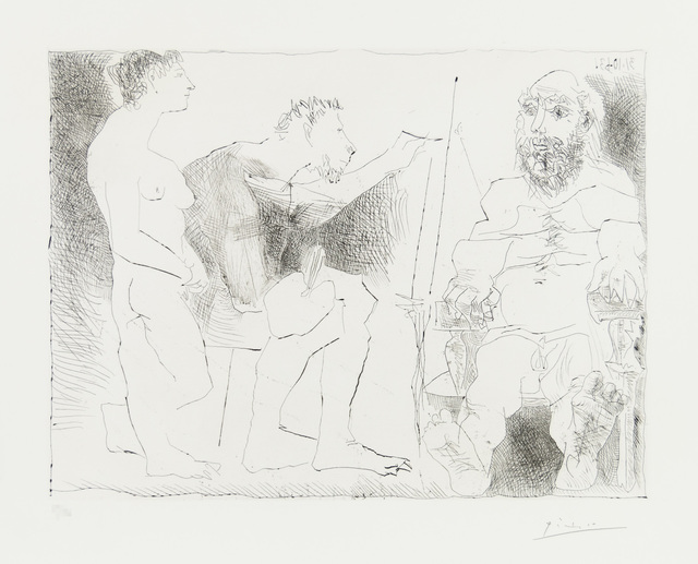 Pablo Picasso, 'PEINTRE AU TRAVAIL (Peintre avec un modèle barbu et une spectatrice)', 1963, Print, Original etching printed in black ink on Rives wove paper., Christopher-Clark Fine Art
