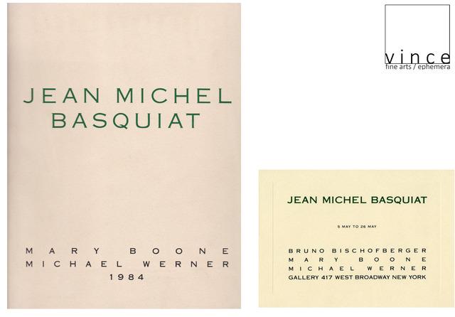 ", '2 PIECE SET-""Jean-Michel Basquiat"", 1984, Exhibition INVITE & CATALOGUE, Mary Boone / Michael Werner Gallery NYC,' 1984, VINCE fine arts/ephemera"