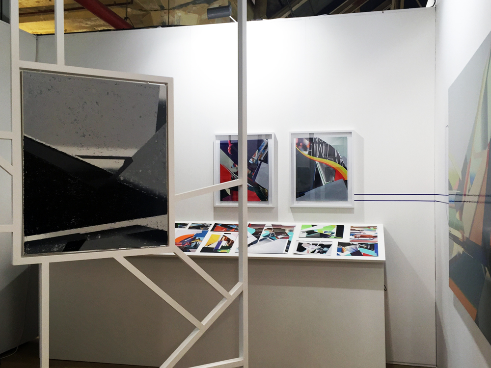 Another view into the booth. A joint venture, a 'Gesamtkunstwerk' of the artist's paintings, collages and installation; photo: gallery