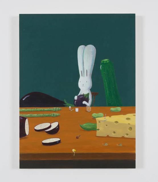 , 'Usacchi having a breakfast with the big aubergine,' 2019, MAHO KUBOTA GALLERY
