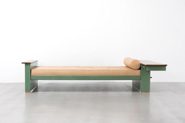 ", ' Green ""Cité"" bed,' ca. 1950, Galerie Patrick Seguin"