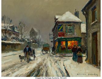 Soir de neige à Cormelles (Calvados)