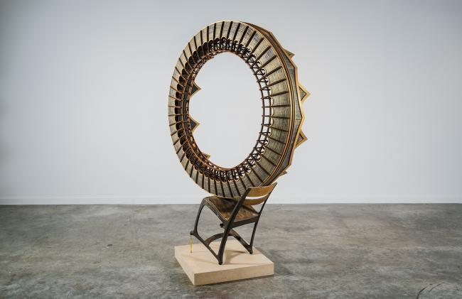 Dustin Farnsworth, XLIII, 2016, poplar, reclaimed wood, chair, pencil and various polychrome. Collection of Sandy Berlin.