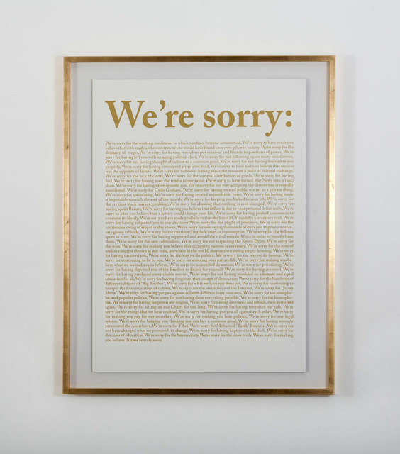 ", '""National Anatema (We're Sorry)"",' 2012, Galleria Raucci / Santamaria"