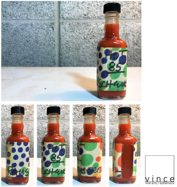 """Robert Rauschenberg, '""""Hot 85"""", 1985, Rauschenberg's Homemade Hot Sauce Bottle, Signed/Dated,  UNIQUE', 1985, Sculpture, Glass, plastic, blk marker, paper, VINCE fine arts/ephemera"""