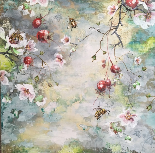 Christopher Reilly, 'Summer Bees', Painting, Encaustic & Mixed Media on Panel, Diehl Gallery