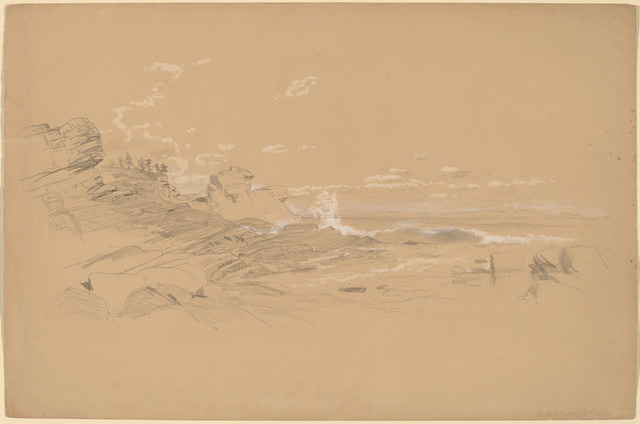 Aaron Draper Shattuck, 'Maine Coast', 1861, Drawing, Collage or other Work on Paper, Graphite and white gouache on brown wove paper, National Gallery of Art, Washington, D.C.