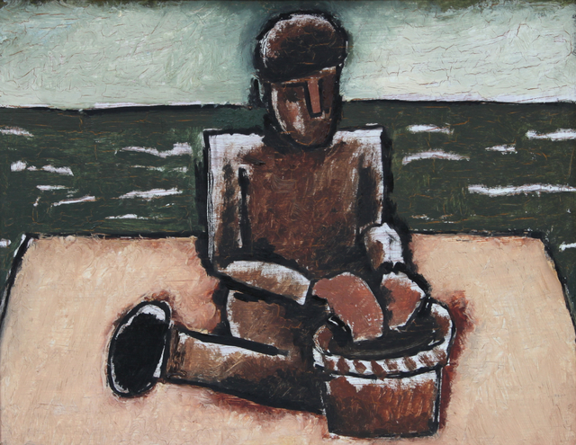 Josef Herman RA, 'Fisherman with Basket', 1980, Stern Pissarro