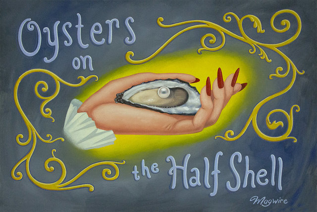 """molly mcguire, ' """"Oysters on the Half Shell""""', ca. 2017, Painting, Acrylic on re-purposed canvas, Parlor Gallery"""