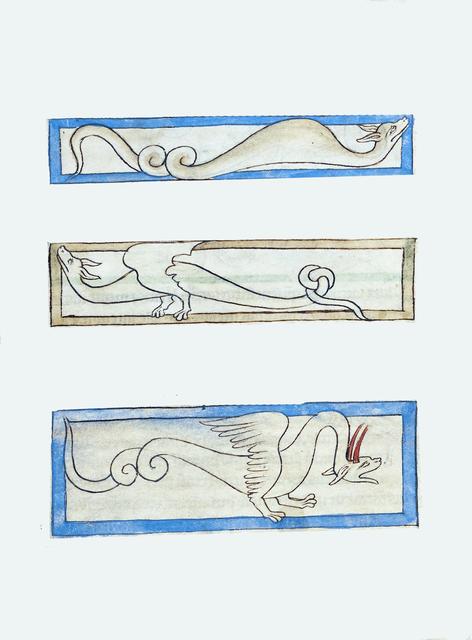 , 'A Boa; A Jaculus; A Siren (detail), Northumberland Bestiary,' 1250-1260, Machamux
