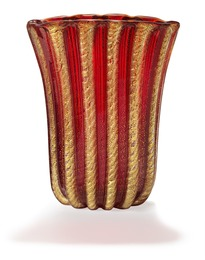 """""""Corodonato Oro"""" vase of clear and red glass. Inlaid with twisted ribbons of gold dust."""